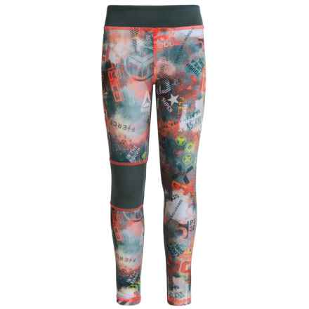 Reebok Grunge Print Active Leggings (For Big Girls) in Fiery Orange - Closeouts