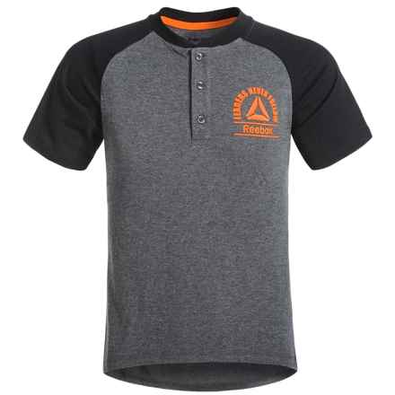 Reebok Henley T-Shirt - Short Sleeve (For Big Boys) in Shark Heather - Closeouts