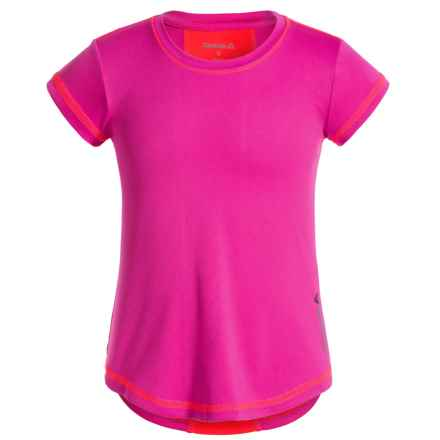 Reebok High-Performance T-Shirt - Crew Neck, Short Sleeve (For Little Girls) in Festival Pink - Closeouts