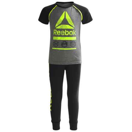 Reebok Icon Shirt and Joggers Set - 2-Piece, Short Sleeve (For Little Boys) in Safety Yellow - Closeouts
