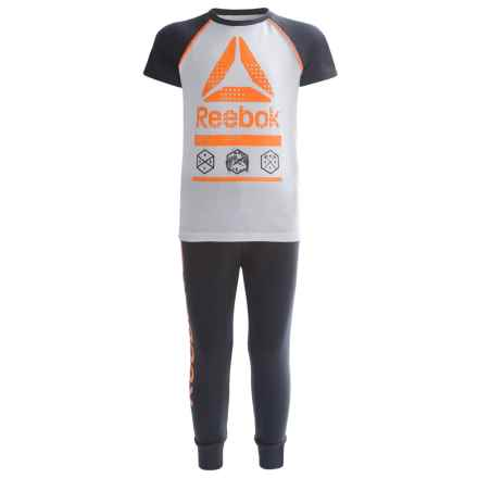 Reebok Icon Shirt and Joggers Set - 2-Piece, Short Sleeve (For Toddler Boys) in Orange Peel - Closeouts
