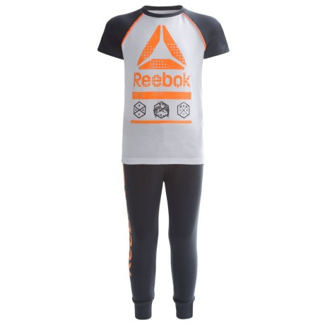 Reebok Icon Shirt and Joggers Set - 2-Piece, Short Sleeve (For Toddler Boys) in Orange Peel