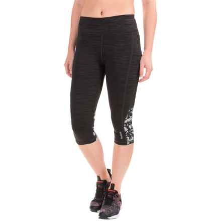 Reebok Impact Printed-Mesh Capri Leggings (For Women) in Black Heather - Closeouts