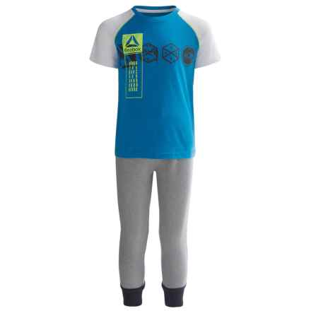 Reebok Lead with Speed Shirt and Joggers Set - 2-Piece, Short Sleeve (For Little Boys) in Dynamic Blue - Closeouts