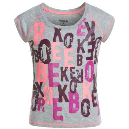 Reebok Letter T-Shirt - Short Sleeve (For Big Girls) in Medium Grey - Closeouts