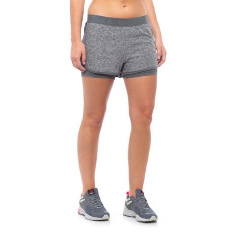Reebok Lightweight Marled Jersey Shorts - Built-In Briefs (For Women) in Medium Grey Heather
