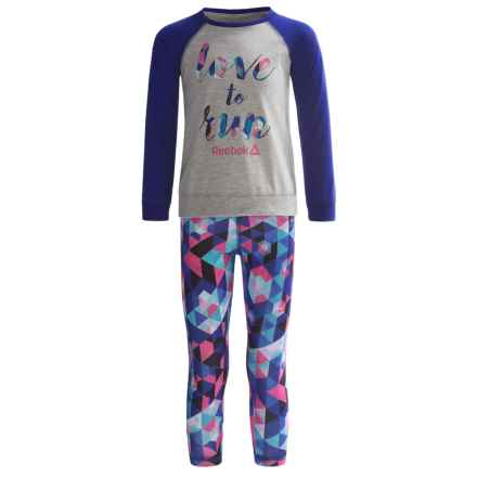 Reebok Love to Run Shirt and Leggings Set - 2-Piece, Long Sleeve (For Little Girls) in Pigment Purple - Closeouts
