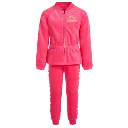 Reebok Luxe Velour Sweat Set - 2-Piece (For Little Girls) in Camellia Rose - Closeouts