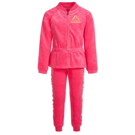 Reebok Luxe Velour Sweat Set - 2-Piece (For Little Girls) in Camellia Rose