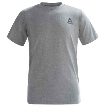 Reebok Marled T-Shirt - Short Sleeve (For Big Boys) in White Heather Grey - Closeouts