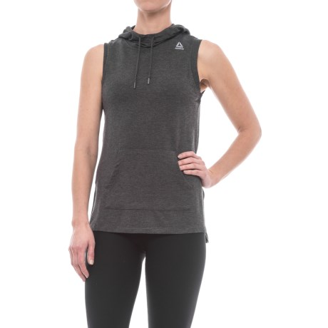 Reebok Move Hooded Tank Top (For Women) in Charcoal Heather