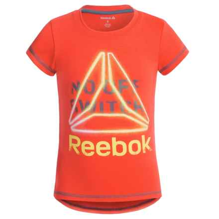 Reebok No Off Switch T-Shirt - Short Sleeve (For Big Girls) in Fiery Orange - Closeouts