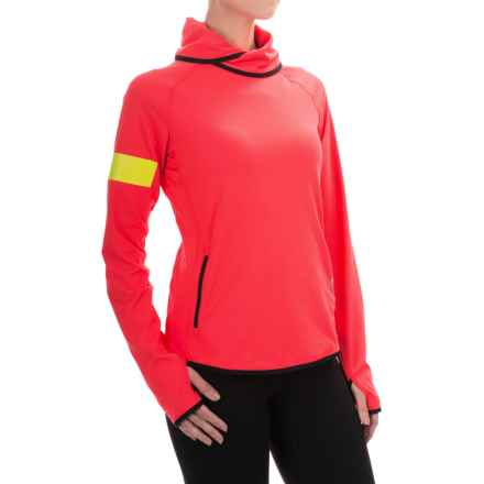 Reebok ONE Series Advance Cowl Neck Shirt - Slim Fit, Long Sleeve (For Women) in Neon Cherry - Closeouts