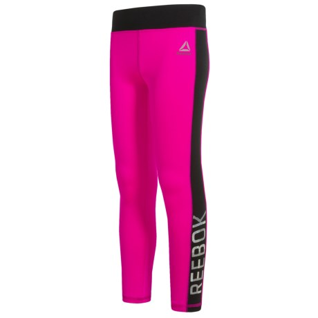 Reebok Panel Leggings (For Big Girls) in Pink Glo