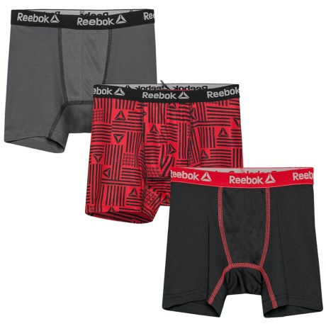 Reebok Performance Boxer Briefs - 3-Pack (For Boys) in Excellent Red Print/ Black Contrast Black/ Excelle