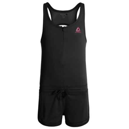 Reebok Play Romper - Sleeveless (For Big Girls) in Black - Closeouts