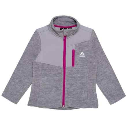 Reebok Polar Fleece Jacket - (For Little Girls) in Space Dye Grey - Closeouts