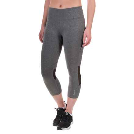 Reebok Premiere Mesh-Panel Capris (For Women) in Charcoal Heather Sd/Black - Closeouts
