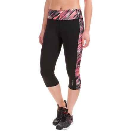 Reebok Printed Ikat Spice Capris (For Women) in Black/Fuchsia Red - Closeouts