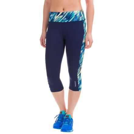 Reebok Printed Ikat Spice Capris (For Women) in Medieval Blue - Closeouts