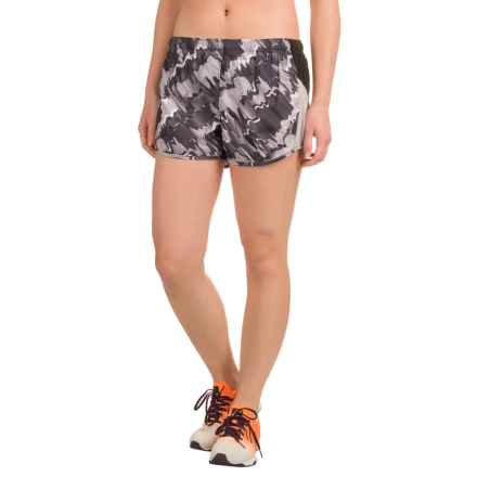 Reebok Printed Runner Shorts - Built-In Briefs (For Women) in Black - Closeouts
