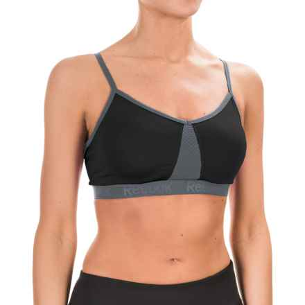 Reebok Propel Deluxe Sports Bra - Medium Impact, Removable Cups (For Women) in Black - Closeouts