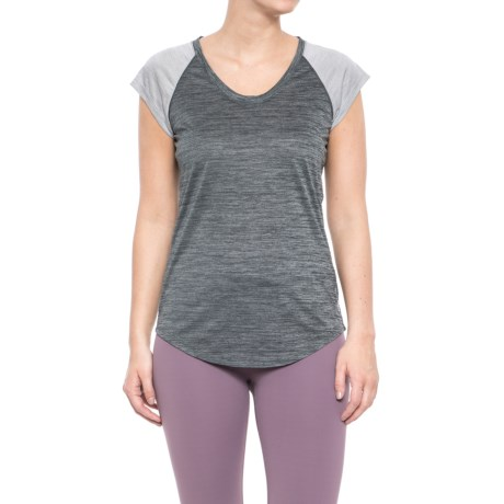 Reebok Racer Shirt - Scoop Neck, Short Sleeve (For Women) in Medium Grey Heather
