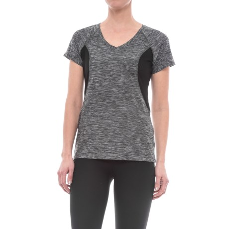 Reebok Reflection Shirt - Short Sleeve (For Women) in Black/White Heather