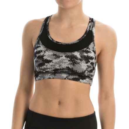 Reebok Renew Datum Print Sports Bra - Medium Impact (For Women) in Black - Closeouts