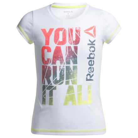Reebok Run It All T-Shirt - Short Sleeve (For Big Girls) in White - Closeouts