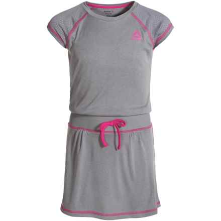 Reebok School's Out Dress - Short Sleeve (For Big Girls) in Med Heather Grey - Closeouts