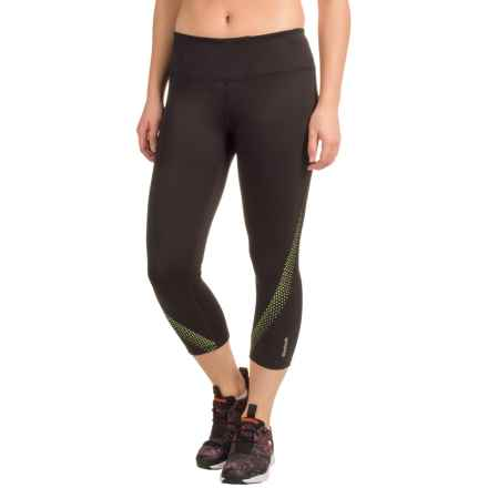 Reebok Sculpt Capris (For Women) in Black/Sharp Green - Closeouts