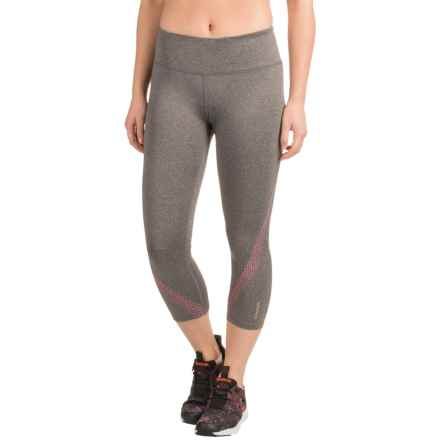 Reebok Sculpt Capris (For Women) in Charcoal Heather Solid/Neon Rose - Closeouts