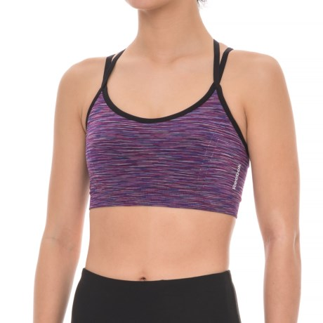Reebok Seamless Strappy Sports Bra - Removable Padded Cups, Medium Impact (For Women) in Hollyhock