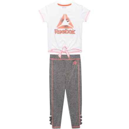 Reebok Shine On Shirt and Leggings Set - Short Sleeve (For Little Girls) in White - Closeouts