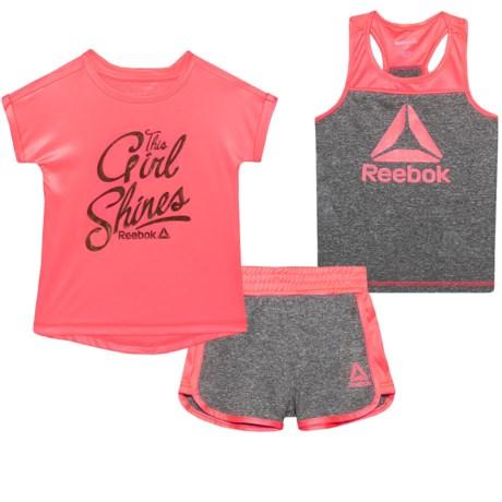 Reebok Shine Short Set - 3-Piece, Short Sleeve (For Toddler Girls) in Papaya