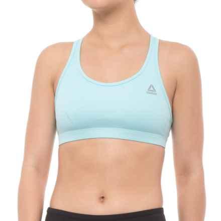 Reebok Short Sports Essentials Sports Bra - Racerback, Medium Impact (For Women) in Blue Lagoon - Closeouts
