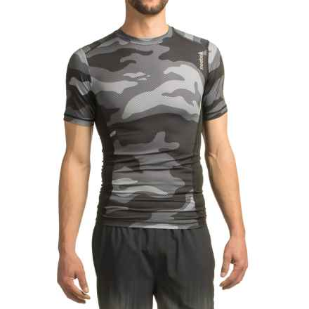 Reebok Sipes Compression Shirt - Short Sleeve (For Men) in Black/Light Ash - Closeouts