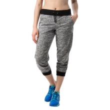 Reebok Space-Dye Cuffed Capris - French Terry (For Women) in Black Heather - Closeouts