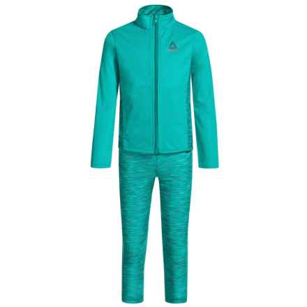 Reebok Space-Dye Jacket and Jogger Set (For Little Girls) in Aqua Teal - Closeouts