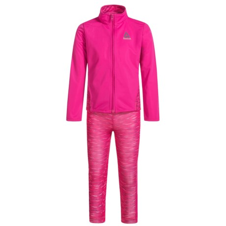 Reebok Space-Dye Jacket and Jogger Set (For Little Girls) in Pink Glow