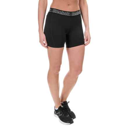 "Reebok Spark Solid Shorts - 5"" (For Women) in Black - Closeouts"