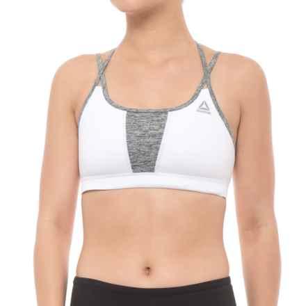 Reebok SpeedWick® Strappy Sports Bra - Medium Impact (For Women) in White - Closeouts