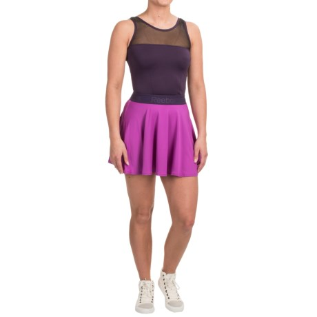 Reebok Spiral Flounce Short Dress - Sleeveless (For Women) in Purple Cactus Flower