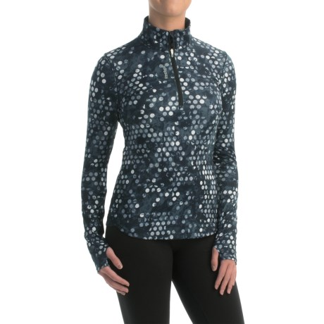 Reebok Stratum Dots Shirt Zip Neck, Long Sleeve (For Women)