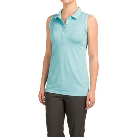 Reebok Striped Elastic Polo Shirt - Sleeveless (For Women)