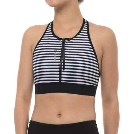Reebok SUP Striped Sports Bra (For Women) in Black - Closeouts