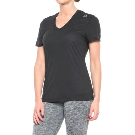 Reebok Sup V-Neck T-Shirt - Short Sleeve (For Women) in Black