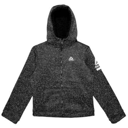 Reebok Sweater Fleece Jacket - Sherpa Lined (For Big Girls) in Black Heather - Closeouts