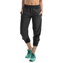 Reebok Woven and Knit Mix Capris (For Women) in Black - Closeouts